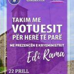 Rama të shtunën në Gjirokastër, takim me të rinjtë që votojnë për herë të parë